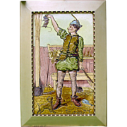 "20"" tall 1899 Burmantoft's Faience picture tile The Stayble man Rat catcher with dog"