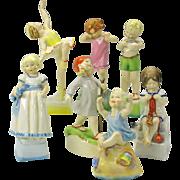 """Complete set 7 vintage Royal Worcester children """"Days of the week"""" figures"""