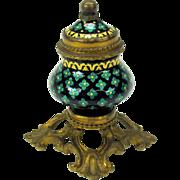 19th Century petite French enamel inkwell on gilded bronze base