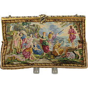 Stunning large vintage French petit point scenic Ladies purse Moses parting the Red Sea
