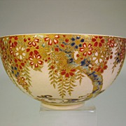 Antique Japanese Satsuma Gosu Blue Art Nouveau bowl