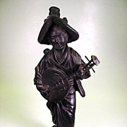 Large signed antique Japanese bronze Woman finely detailed