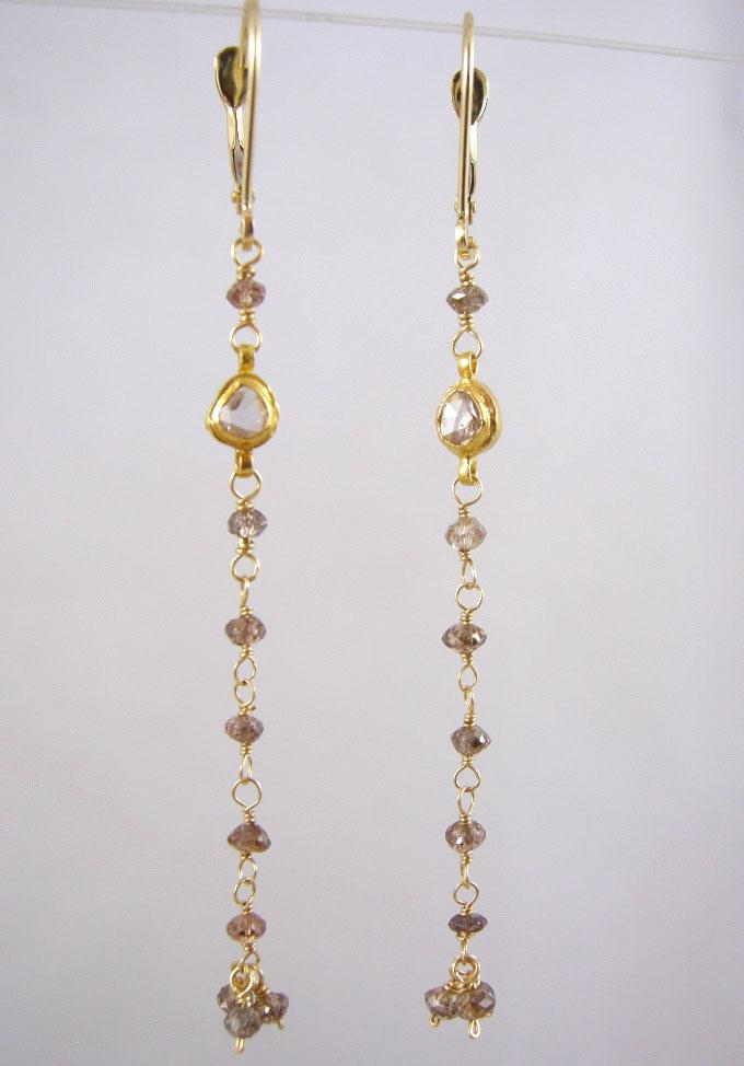 18k Solid Gold~ Genuine Champagne & Chocolate Diamond Earrings~RR