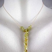 18K Solid Gold~ Grossular Garnet Y Necklace~ Gorgeous!