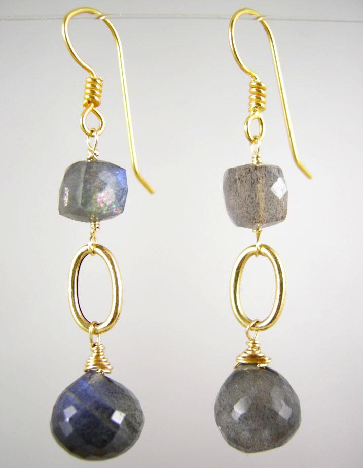 18K Solid Gold~ AA Blue Flash Labradorite Earrings