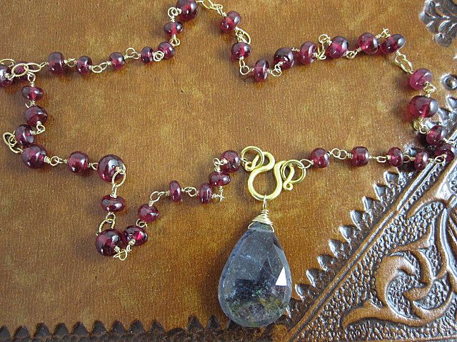 AAA Deep Red Ruby & Gray/blue Tourmaline Pendant~ solid 18K gold