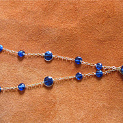 18K Solid Gold~AAA Cobalt Blue Kyanite & Labradorite Necklace~ Gorgeous!!
