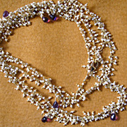 "22k Vermeil~ 36"" Seed Pearls & Amethyst Necklace~2014"