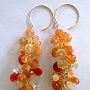 "14k Solid Gold~AAA Mexican Fire Opal ""cluster'' Earrings ~"