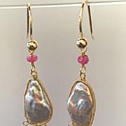 "14K Solid Gold~AAA Keishi Pearl Earrings~3"""
