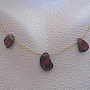 "14K Solid Gold~ Watermelon Tourmaline  Necklace~ 18"" one of a kind"
