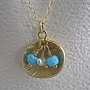 18K Solid Gold~ Lotus Pendant Necklace with Sleeping Beauty Turquoise & Keishi Pearls~ one of a kind!