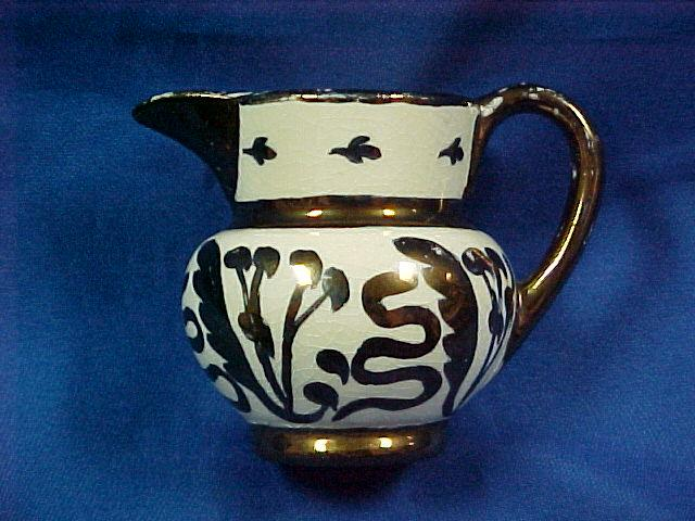 Small Copper Luster Pitcher with Decoration
