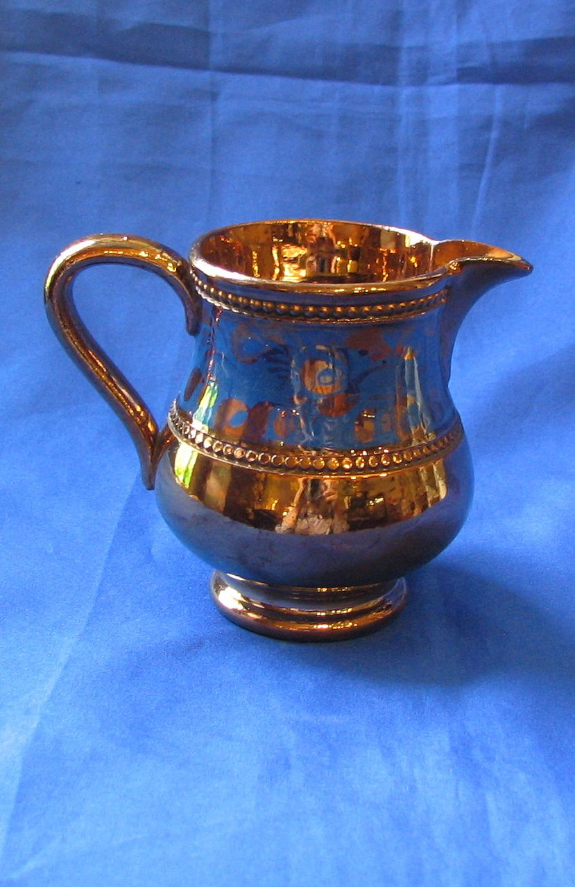 Copper Luster Cream Pitcher with Blue Band
