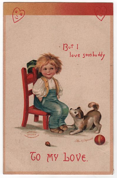 Signed Clapsaddle Valentine Postcard of a Happy Little Boy Sitting in a Chair