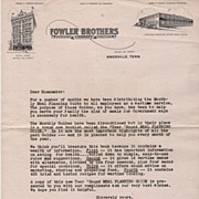 Fowler Brothers Store Knoxville Tennessee Letterhead W W II