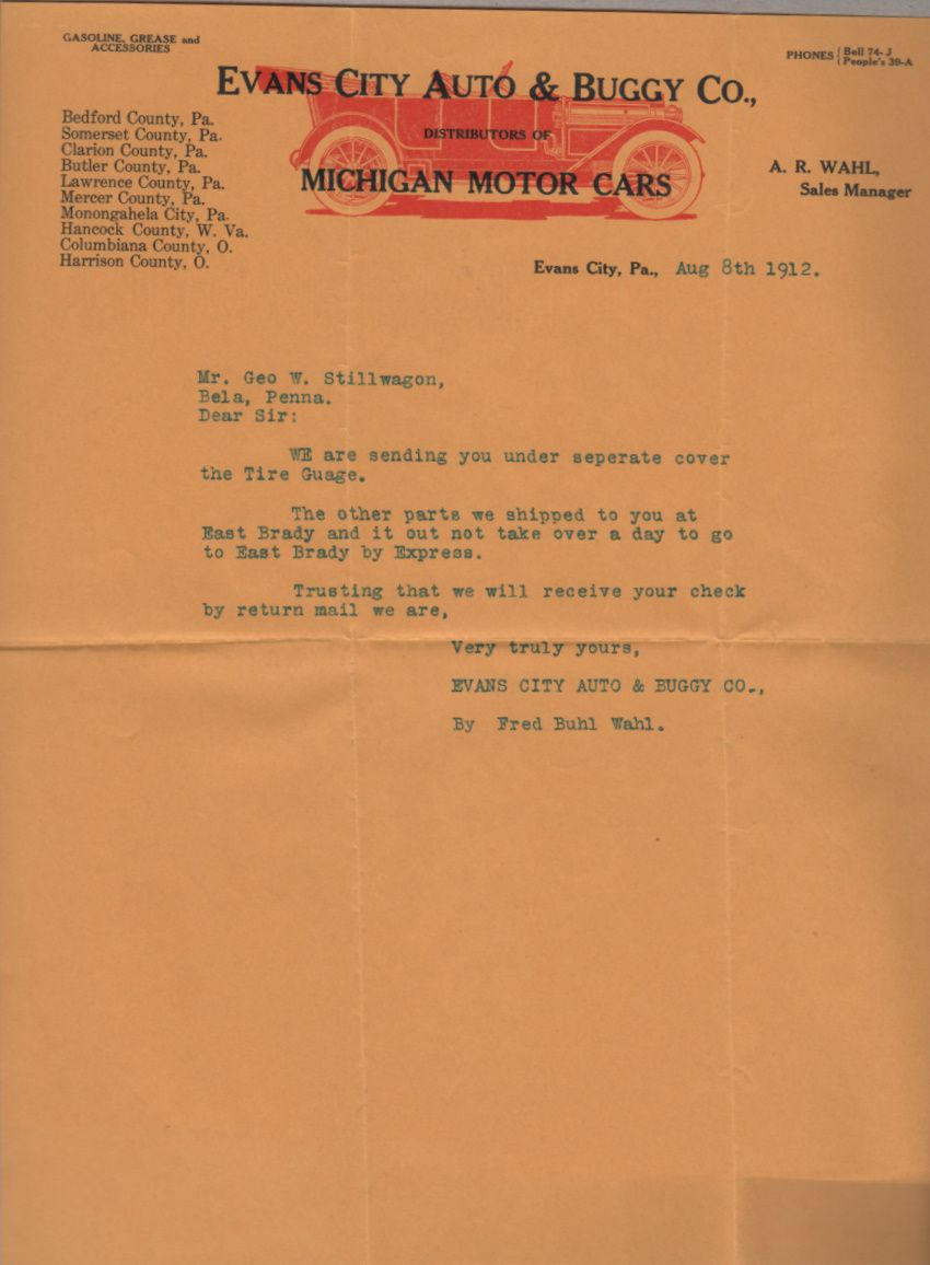 Evans City Auto & Buggy Co Michigan Motor Cars Letterhead and Envelope 8/8/1912