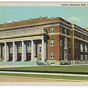 Salina Memorial Hall Salina Kansas KS White Border Linen Postcard