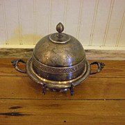 Victorian Style Silver Plated Round Butter Dish with Butter Knife Holder
