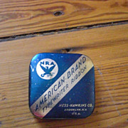 NRA American Brand Hess-Hawkins Co NY Dark Blue and Silver Typewriter Ribbon Tin