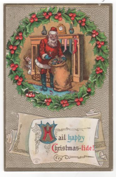Christmas Postcard with Santa Claus Taking Toys Out of Bag as Child Watches