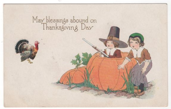 Thanksgiving Postcard with Two Pilgrim Children, One with a Gun in a Pumpkin