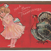 Thanksgiving Postcard with Little Girl in Pink with a Gobbler
