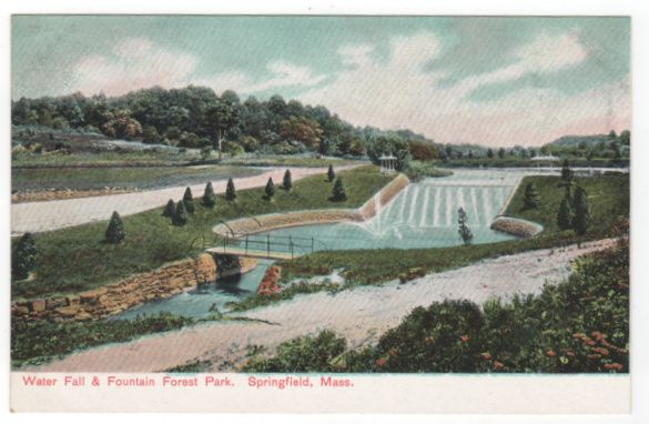Water Fall and Fountain Forest Park Springfield MA Massachusetts Postcard