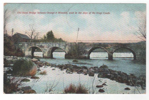 Old Stone Bridge between Orange and Wendell MA Massachusetts Vintage Postcard