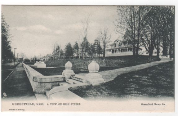 Greenfield MA Massachusetts A View of High Street Postcard