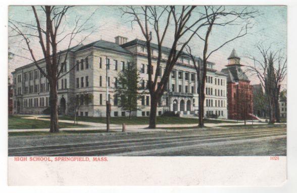 High School Springfield MA Massachusetts Vintage Postcard