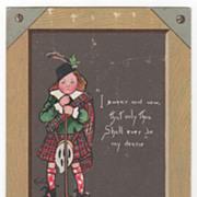 """To My Valentine"" Boy in Kilt and Tartan -Tuck 1902 Valentine Greeting Card"