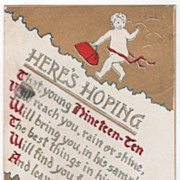 New Year Vintage Postcard New Year Baby 1910