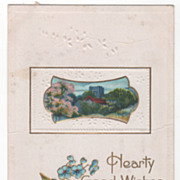 Greetings Vintage Postcard Hearty Good Wishes Country Scene Blue Flowers
