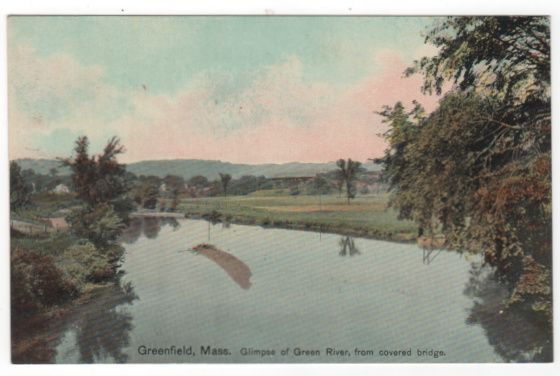 Greenfield MA Massachusetts Glimpse of Green River from Covered Bridge Vintage Postcard