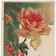 Greetings Vintage Postcard Happy May Your Birthday Be Yellow Rose w/Pink Shading
