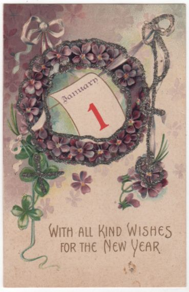New Year Vintage Postcard With All Kind Wishes for the New Year Violet Wreath