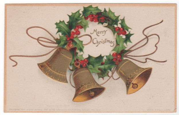 Christmas Vintage Postcard Merry Christmas Golden Bells Holly Clapsaddle Signed