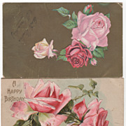 Two Greetings Vintage Postcards Gold Background Roses A Happy Birthday Roses