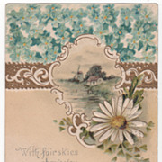 Greetings Vintage Postcard Windmill Scene Large White Flower Small Blue Flowers