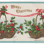 Christmas Vintage Postcard Merry Christmas Baskets of Holly Pink Ribbon