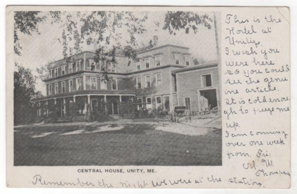 Central House Unity ME Maine Vintage Postcard