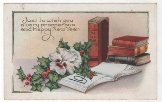 New Year Vintage Postcard Happy New Year Books Holly Pansy