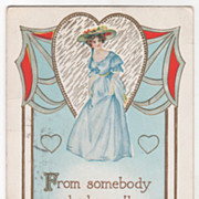 Valentine Vintage Postcard Red and Gold Hearts Lady in a Blue Dress