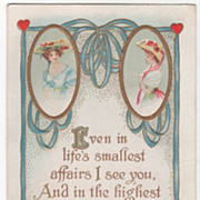 Valentine Vintage Postcard Red Hearts Two Ladies Each in Oval Frame