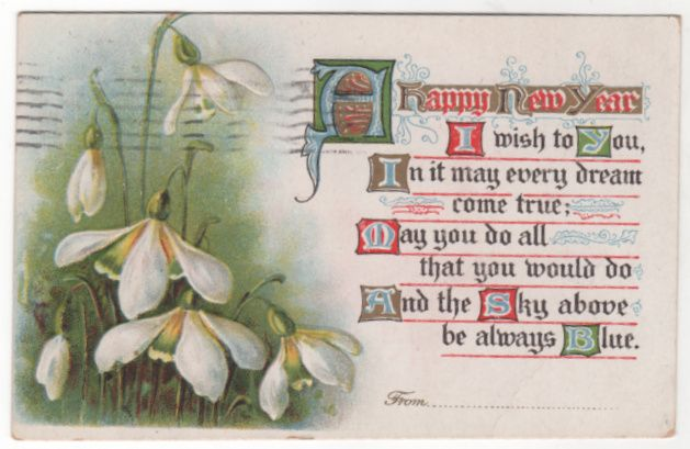New Year Vintage Postcard A Happy New Year White Flowers