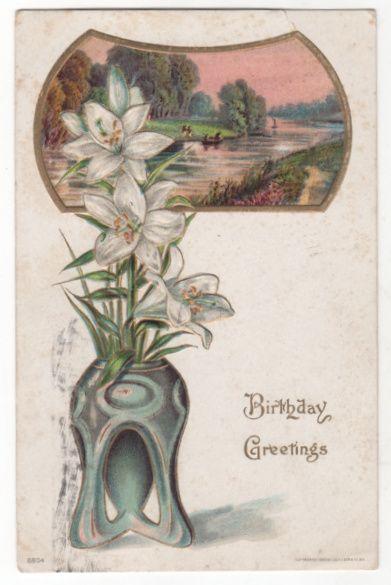 Greetings Vintage Postcard Birthday Greetings White Lilies Country Waterway