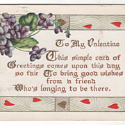 Valentine Vintage Postcard To My Valentine Violets Red and Gold Hearts