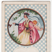 Valentine Vintage Postcard My Queen Thou Art Queen's Clothes w/Hearts Cupid