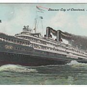 Steamer City Of Cleveland Lake Erie Vintage Postcard